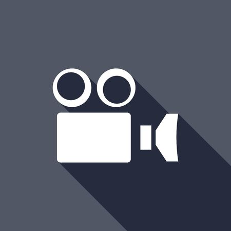 camcorder: Camcorder Camera icon with a long shadow