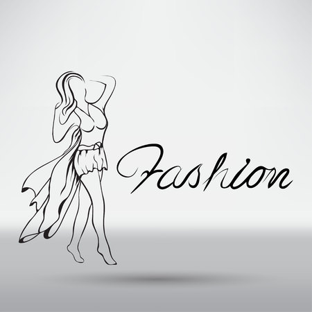runway: Beautiful woman model walking on the runway Illustration