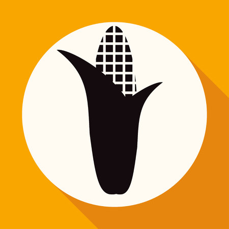 husks: Corn icon on white circle with a long shadow