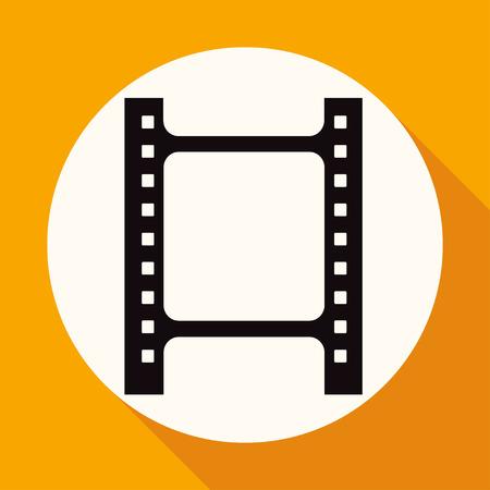 rollo pelicula: Icono de la película en el círculo blanco con una larga sombra