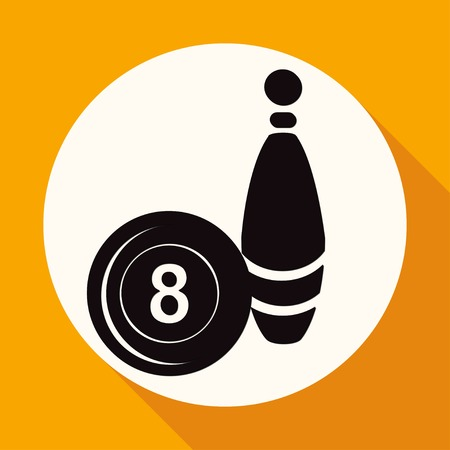 ten pin bowling: Bowling icon on white circle with a long shadow Illustration