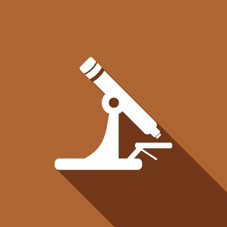 bacteria microscope: Microscope Icon with a long shadow