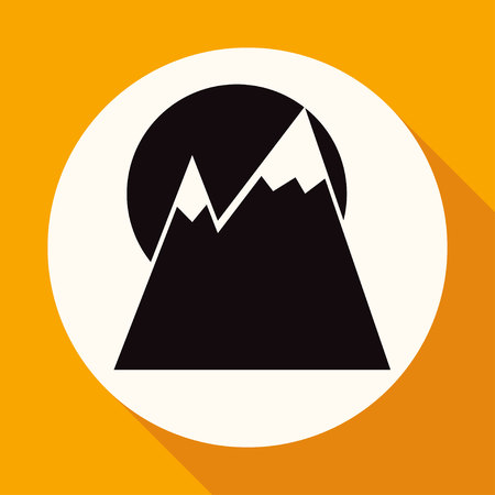 sunrise mountain: Mountain icon on white circle with a long shadow Illustration