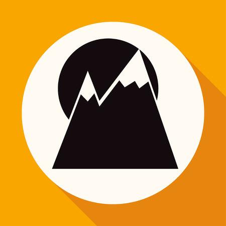 Mountainside: Mountain icon on white circle with a long shadow Ilustracja