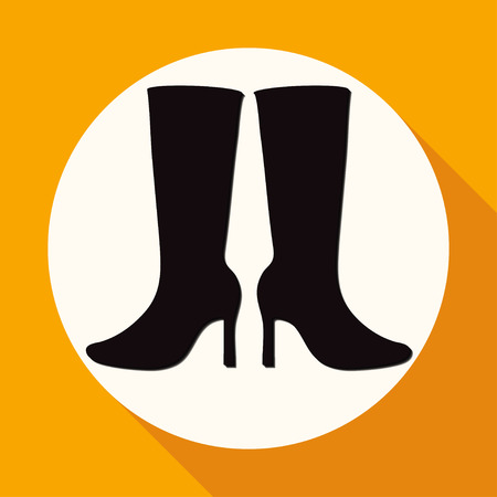 leather goods: Women Boots Icon on white circle with a long shadow