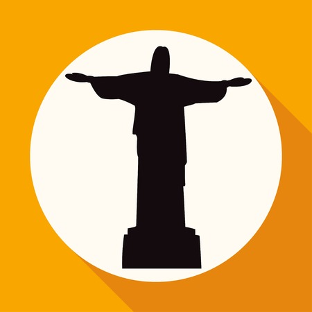 cristo: statue of Jesus on white circle with a long shadow Illustration