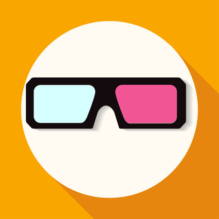 stereoscope: 3d glasses icons on white circle with a long shadow Illustration