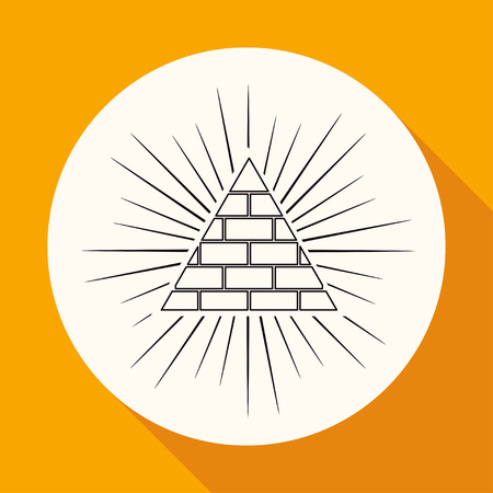 new world order: Icon Pyramid on white circle with a long shadow
