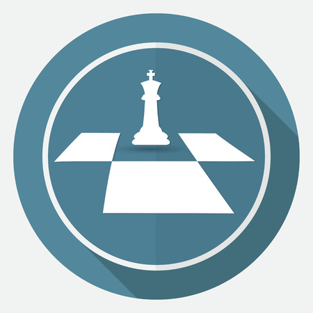 Icon Chess on white circle with a long shadow