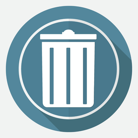 compost: trash can icon on white circle with a long shadow Illustration