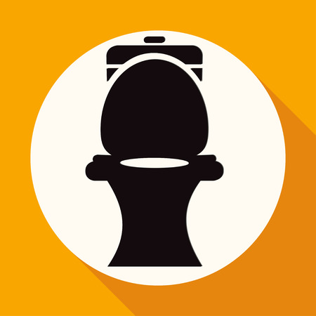 bidet: Icon Toilet on white circle with a long shadow Illustration