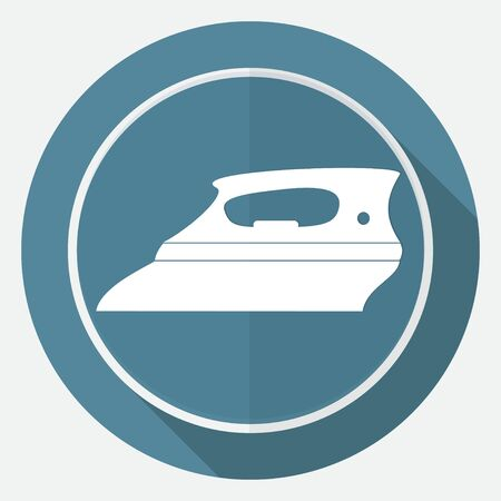 steam iron: Icon Steam iron on white circle with a long shadow