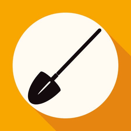hayfork: Icon Garden tools on white circle with a long shadow Illustration