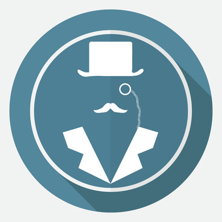 antiquities: Bowler hat and moustache on white circle with a long shadow Illustration