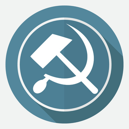 hammer and sickle: Icon sickle hammer on white circle with a long shadow