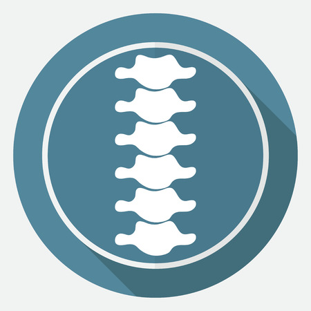 human spine: Icon Spine diagnostics on white circle with a long shadow Illustration