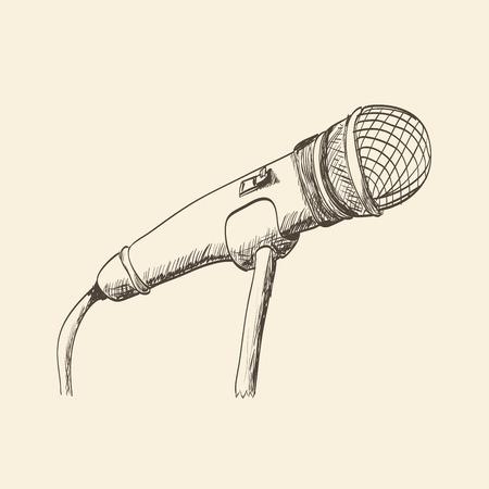 studio microphone: Hand drawn studio microphone