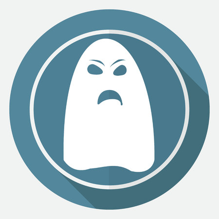 immortal: ghost icon on white circle with a long shadow