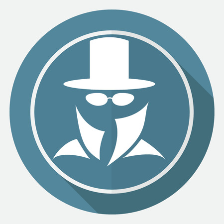 evade: Man in suit. Secret service agent icon a long shadow