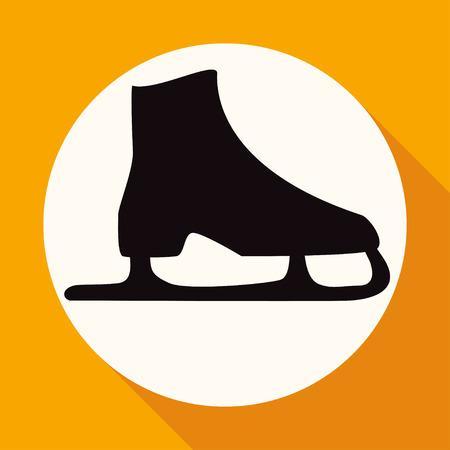 ice skates: Icon ice skates on white circle with a long shadow