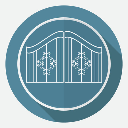 iron fence: Icon gate on white circle with a long shadow