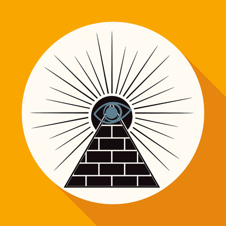 conscience: Icon Pyramid on white circle with a long shadow