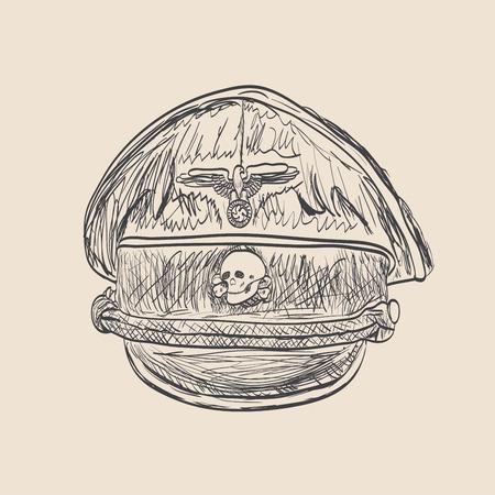 adolf: Nazi cap sketch style Illustration