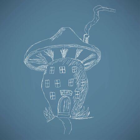 cartoon mushroom: Cute cartoon mushroom house, sketch
