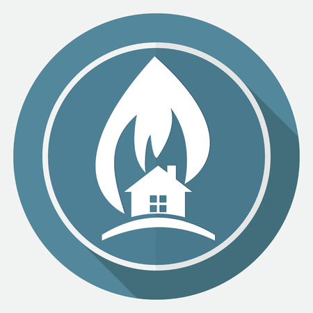 ruined house: Icon fire warning on white circle with a long shadow