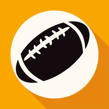 gridiron: Icon american football on white circle with a long shadow