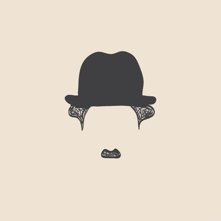 chaplin: Man with mustache wearing a vintage hat. sketch style Illustration