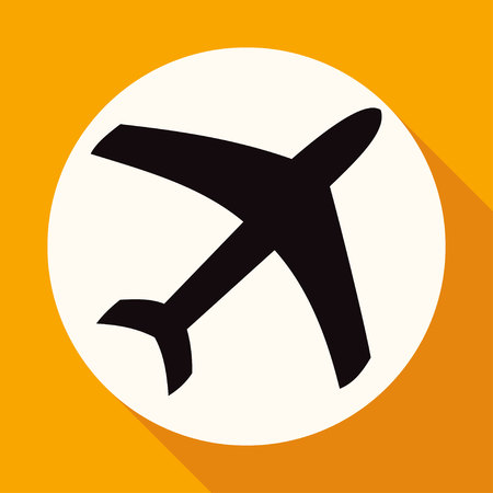 airplane icon: Icon airplane on white circle with a long shadow