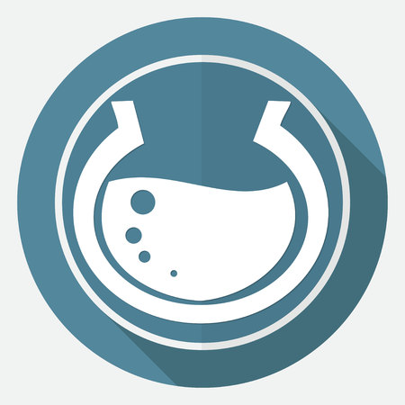 fish isolated: aquarium icon on white circle with a long shadow