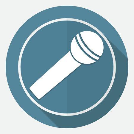 Mikrofon-Symbol Auf Weißem Kreis Mit Einem Langen Schatten ...