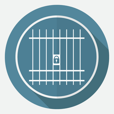 confined: Icon Prison on white circle with a long shadow Illustration