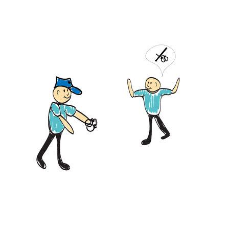 bribery: police holding guns s illustration Illustration
