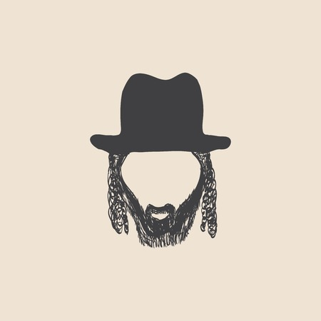 hasidim: Man with mustache wearing a vintage hat. sketch style Illustration