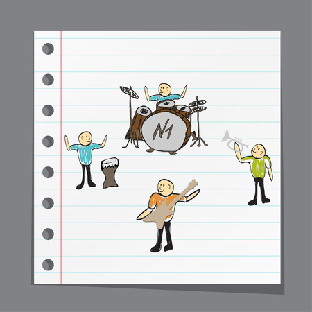 pop singer: a group of musicians playing music illustration
