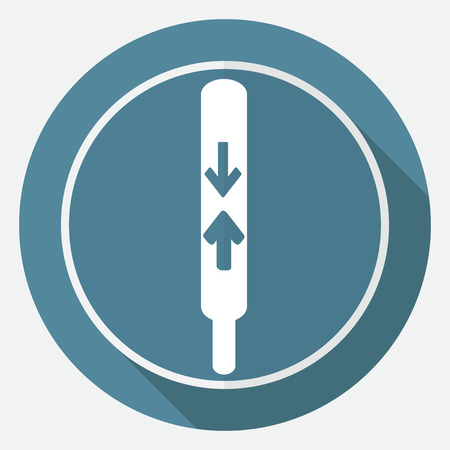 thermometer icon on white circle with a long shadow Illustration
