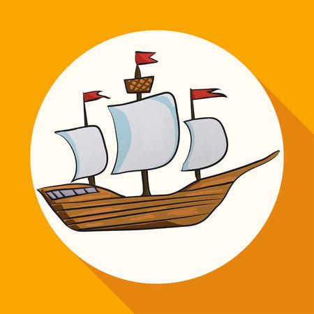 sailing vessel: Icono buque navegando en c�rculo blanco con una larga sombra