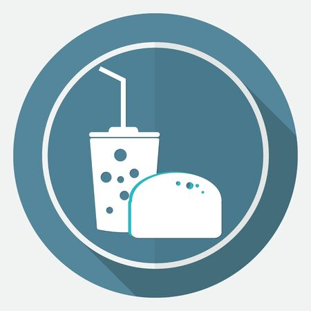 ready to eat: Fast food icon on white circle with a long shadow Illustration