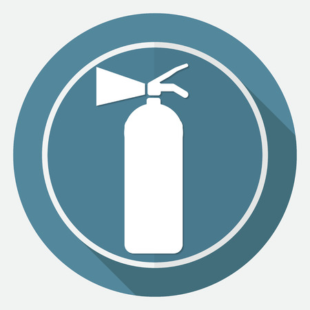 Fire extinguisher on white circle with a long shadow Illustration