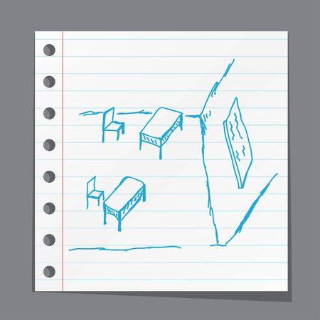 school desk: Sketchy illustration of a school desk