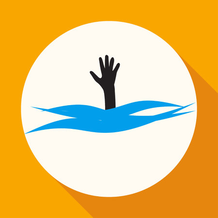 vulnerable: Drowning and reaching out hand for help a long shadow Illustration