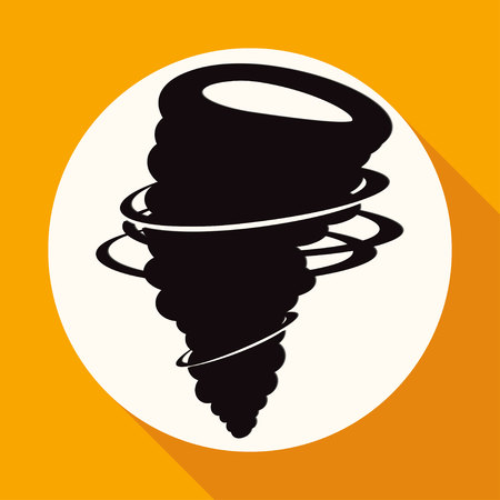 cyclonic: Icon wind on white circle with a long shadow