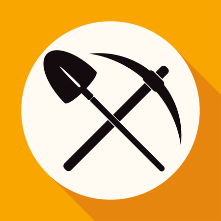 handtools: Icon pick and shovel on white circle with a long shadow