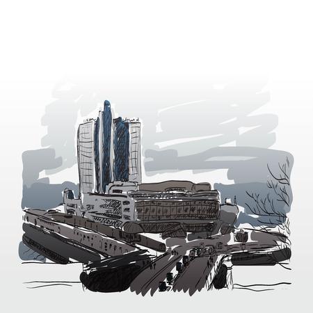 urban city: urban city drawing sketch