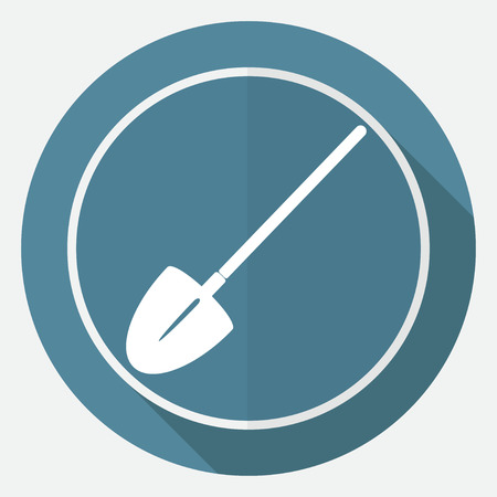 horticultural: Icon Garden tools on white circle with a long shadow Illustration