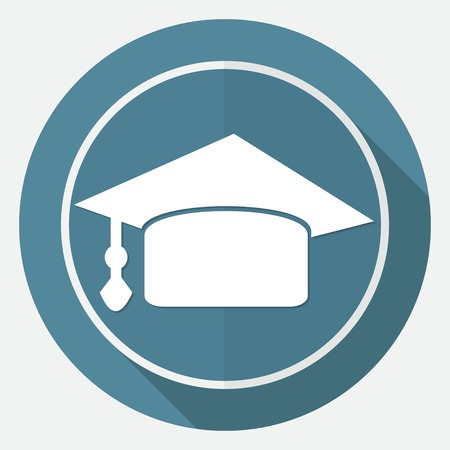 commencement: Icon Graduation cap on white circle with a long shadow