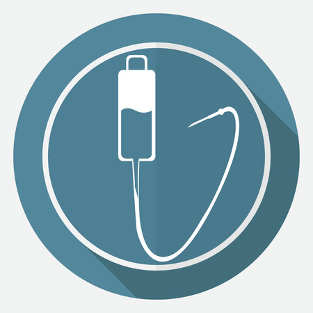 intravenously: Icon Medical dropper on white circle with a long shadow